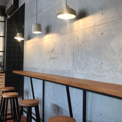 Бетон для интерьера - Панели из архитектурного бетона в ресторане